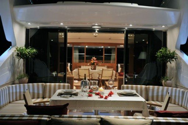 Outdoor dinning hire yacht Mangusta 92 Italy
