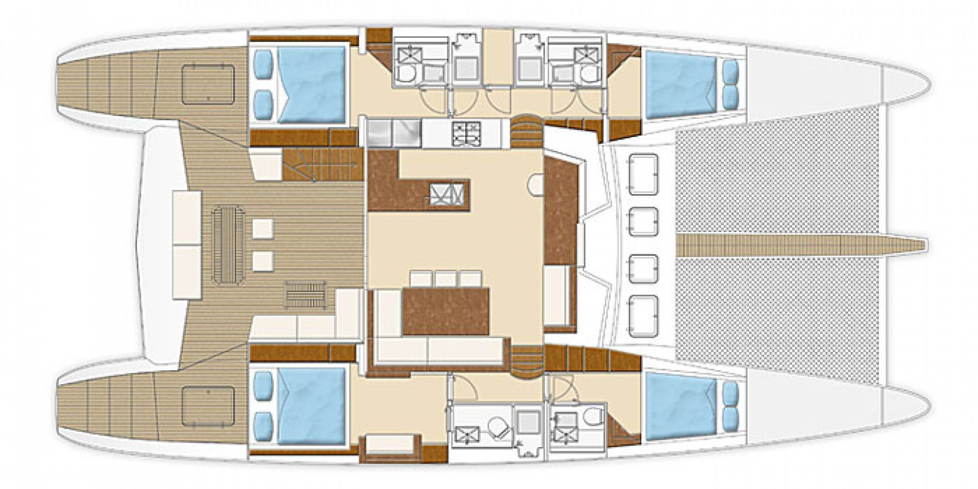 Depende IV luxury catamaran charter layout