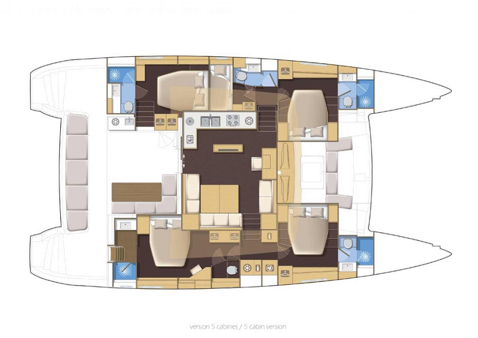 Lagoon 560 catamaran charter layout