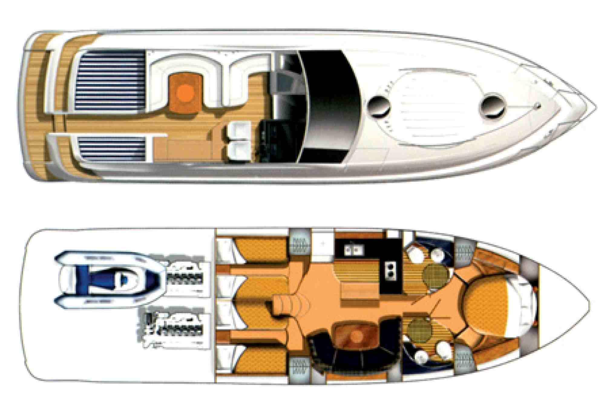 TARGA 52 GT motorboat charter layout