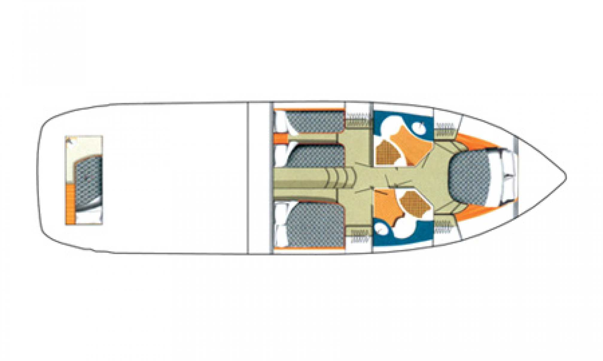 Phantom 50 motorboat charter layout