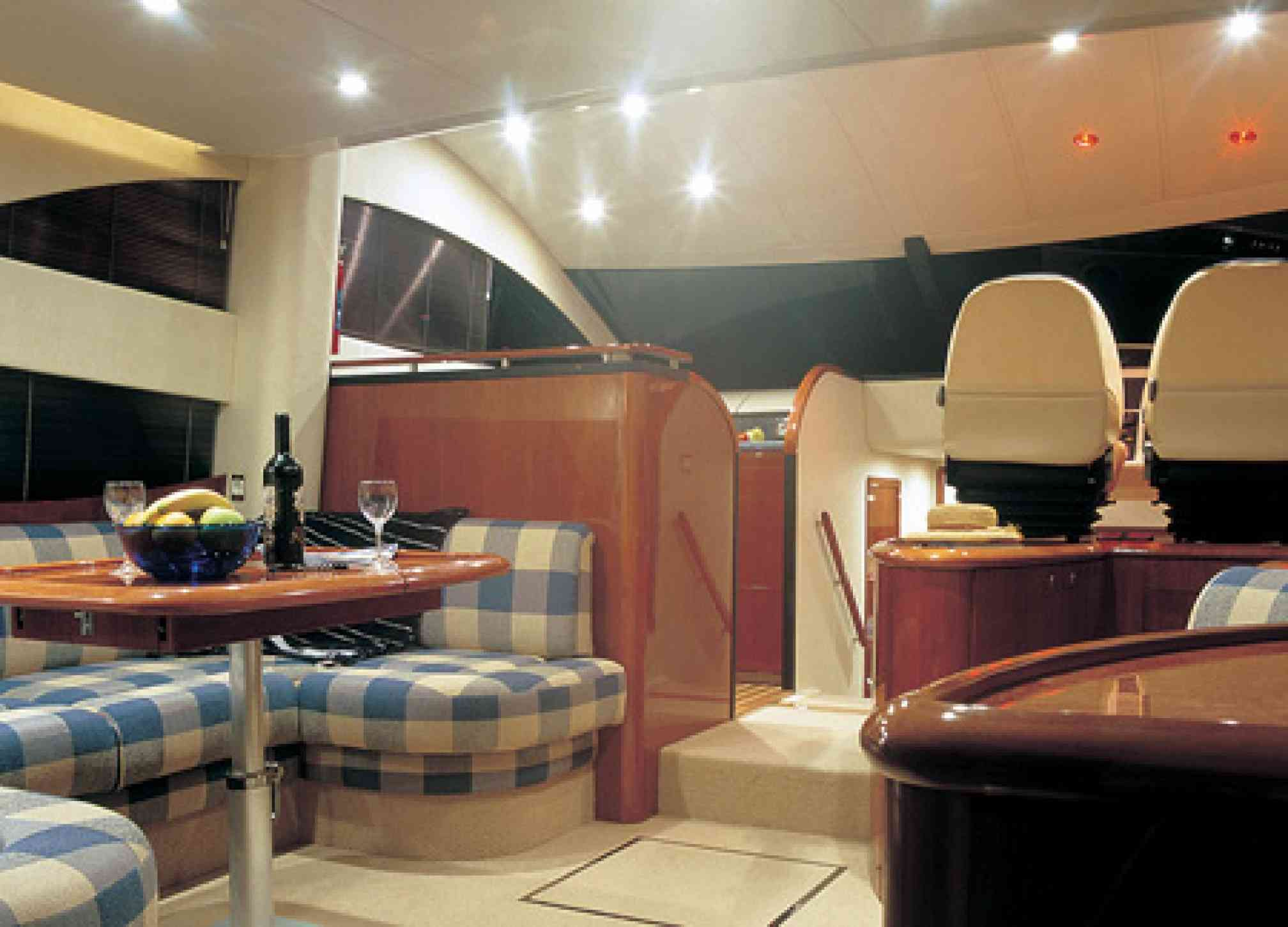 Phantom 50 motorboat charter saloon