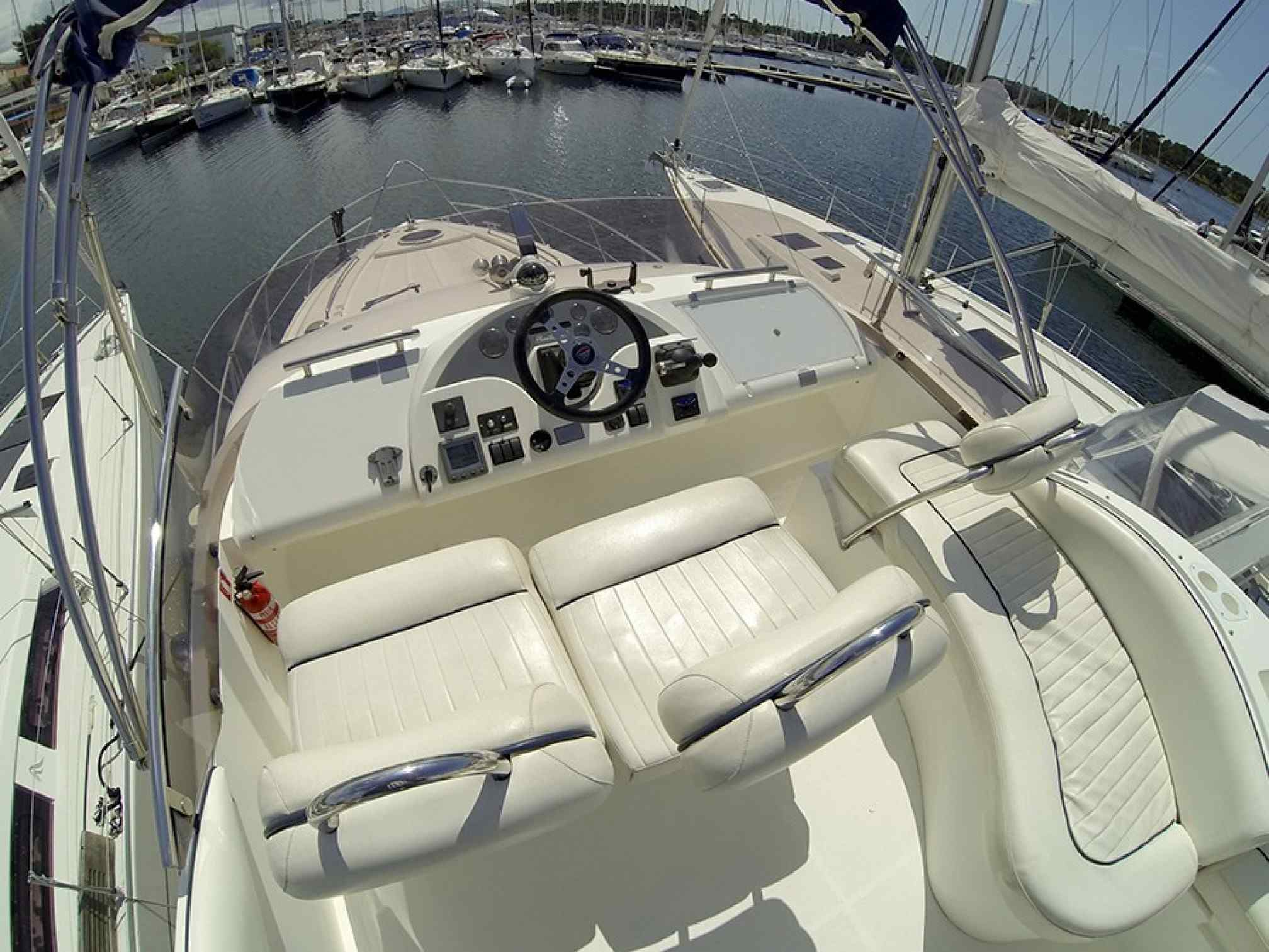 Phantom 40 motorboat charter cockpit