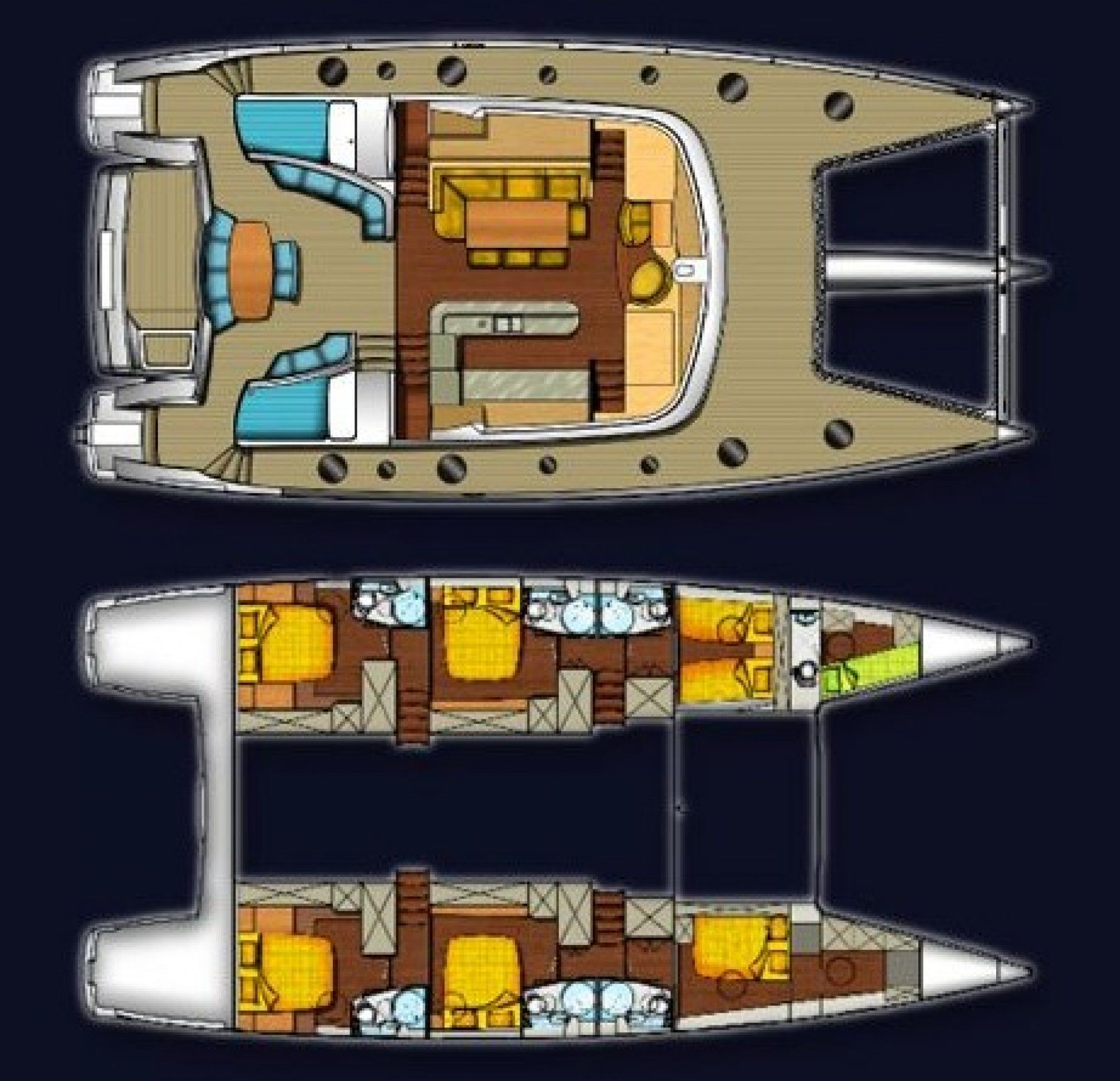 MobyDick Luxury Catamaran Layout