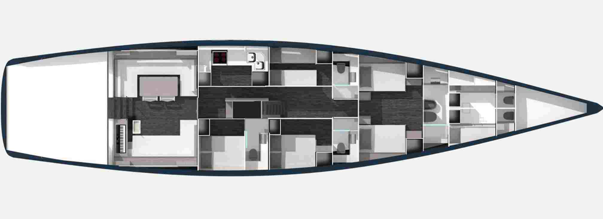 Vismara V80 luxury sailboat charter layout