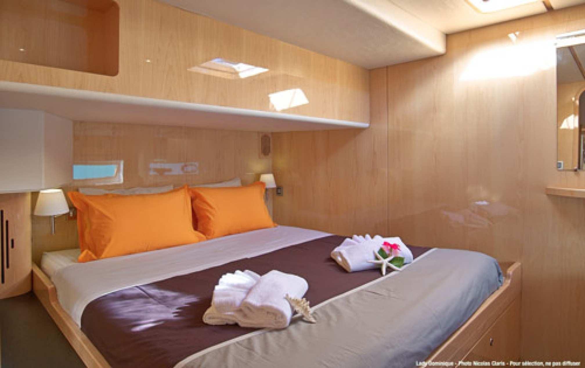 Lady Dominique II luxury catamaran charter cabin