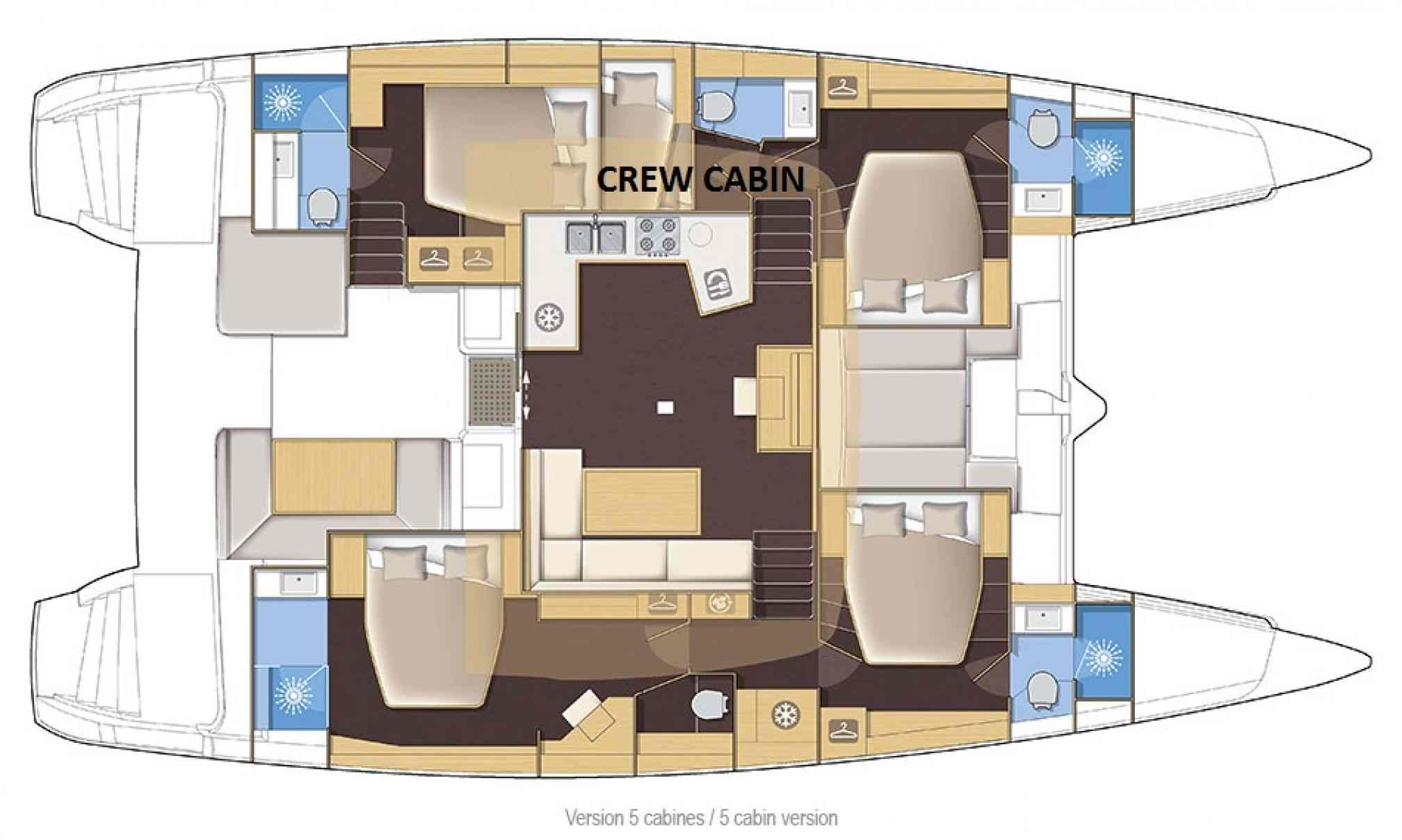 Lagoon 52 F catamaran charter layout