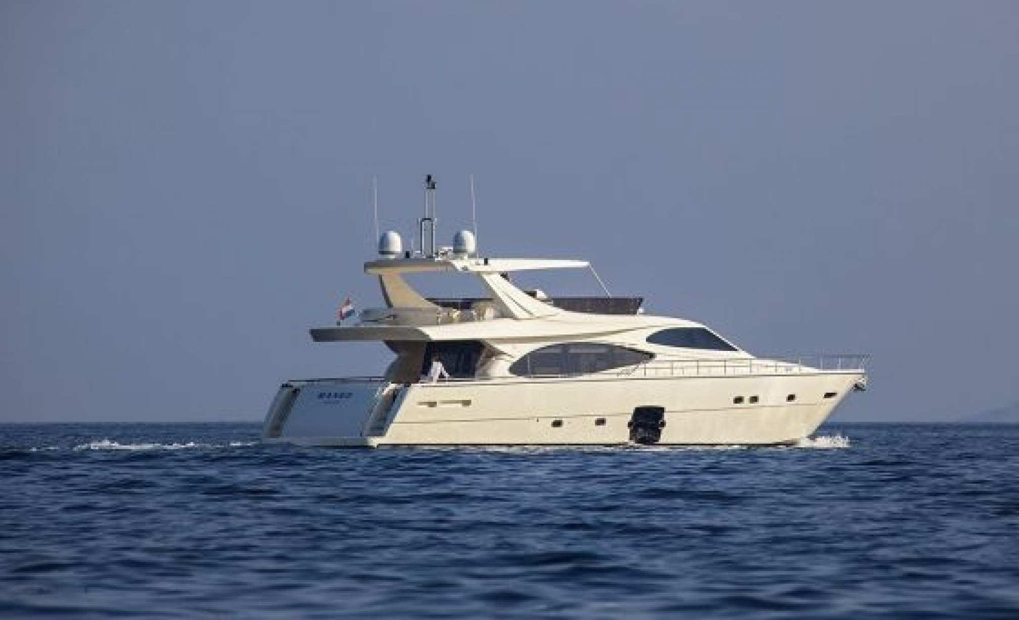 Ferretti 780 charter yacht sailing