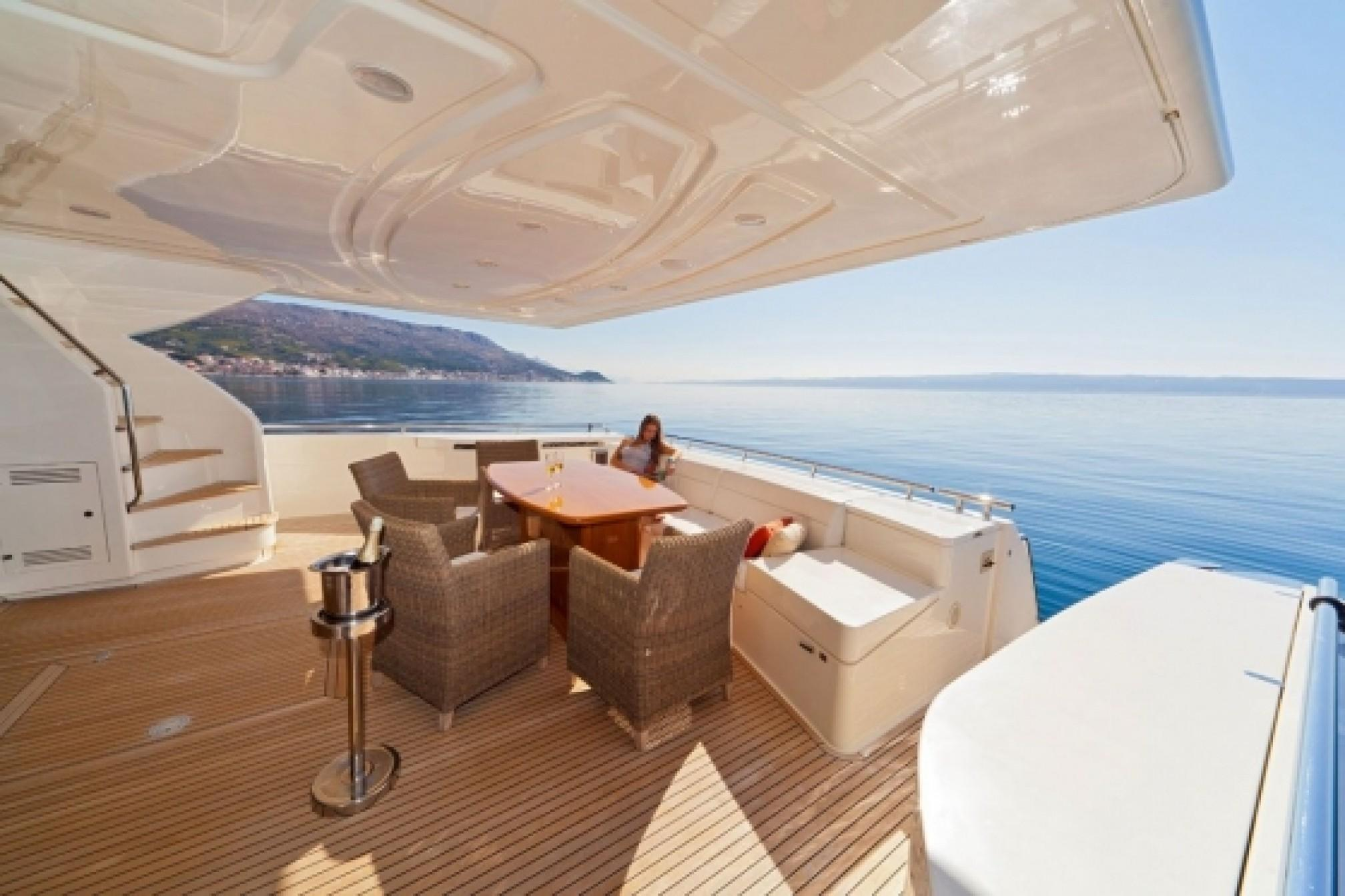 Ferretti 780 charter yacht outdoors