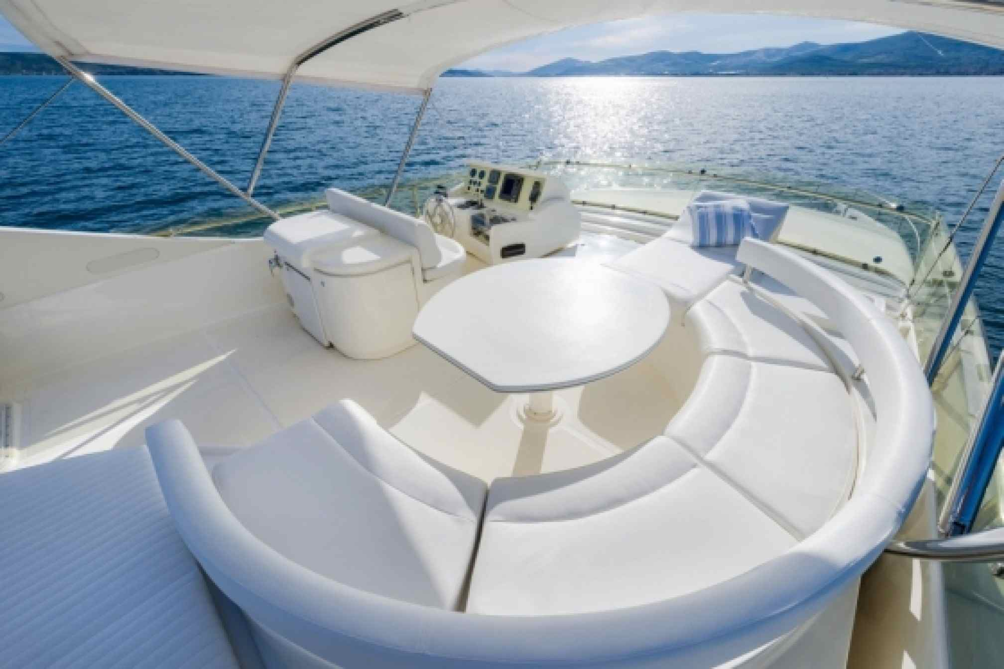 Ferretti 730 charter yacht outdoors