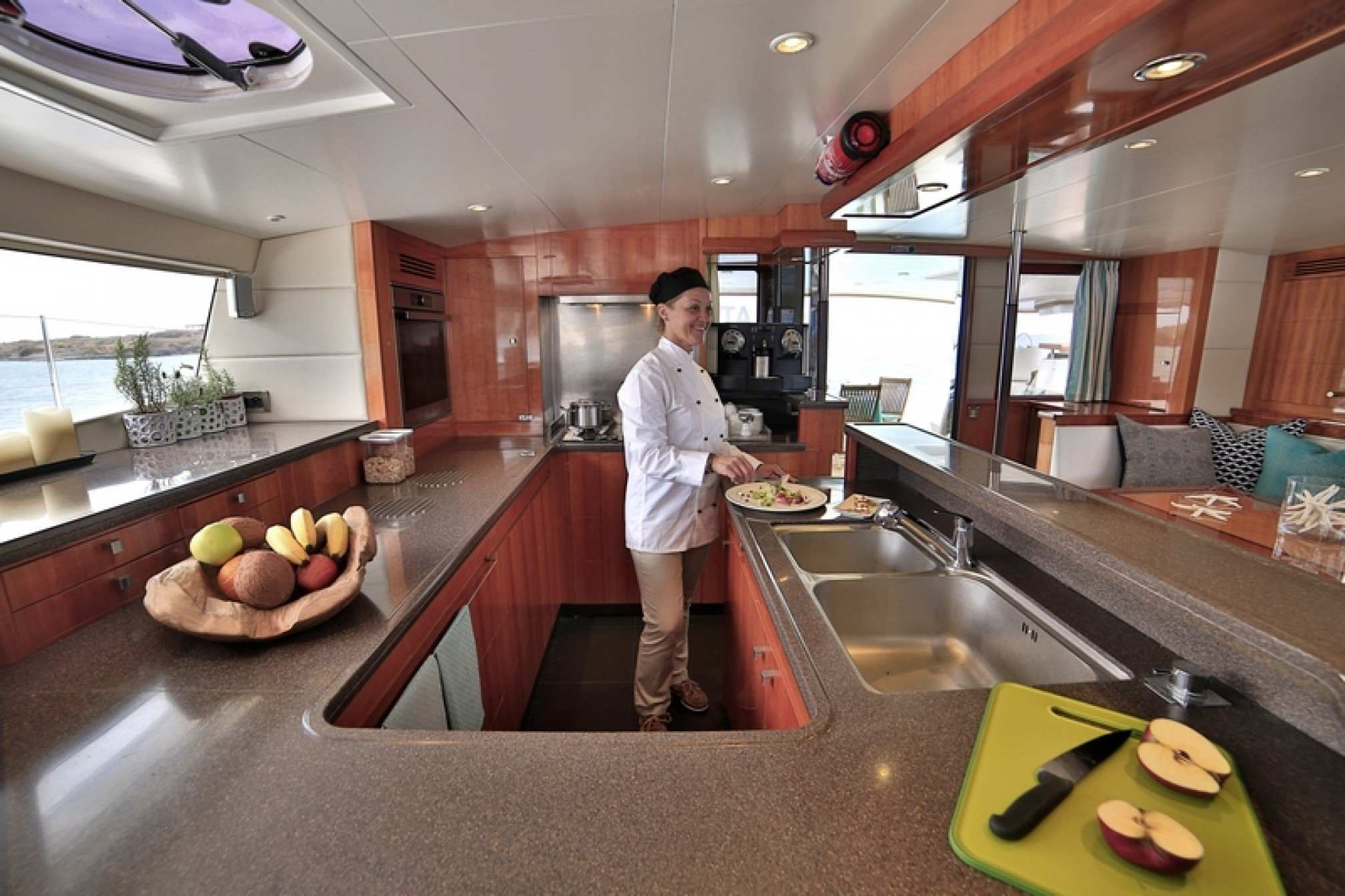 'World's End' catamaran charter kitchen