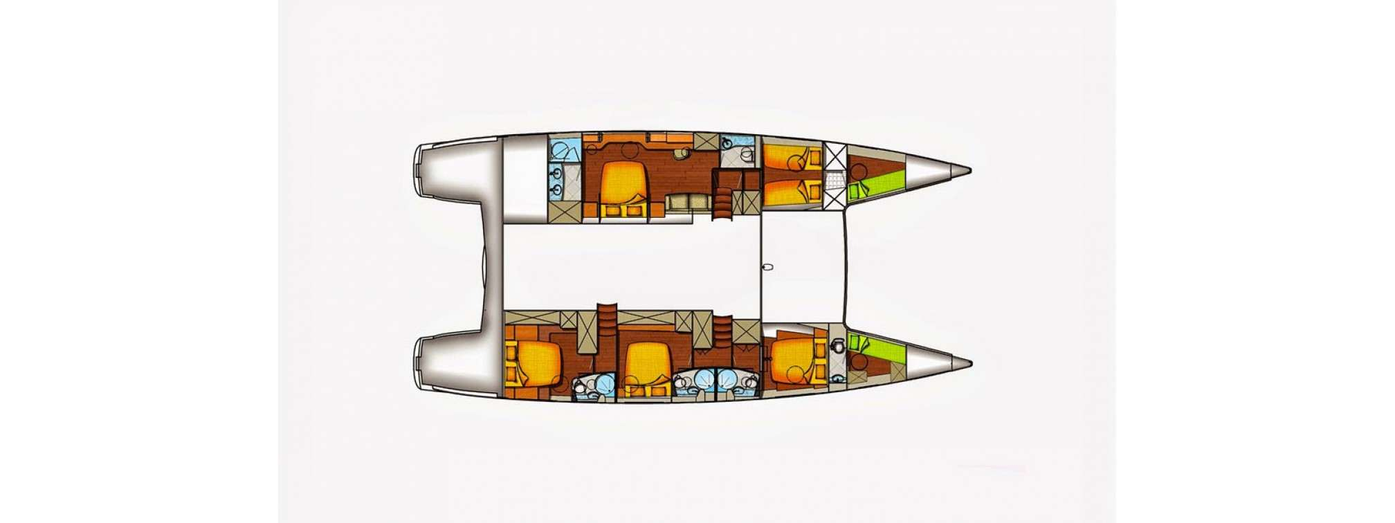 'World's End' catamaran charter layout