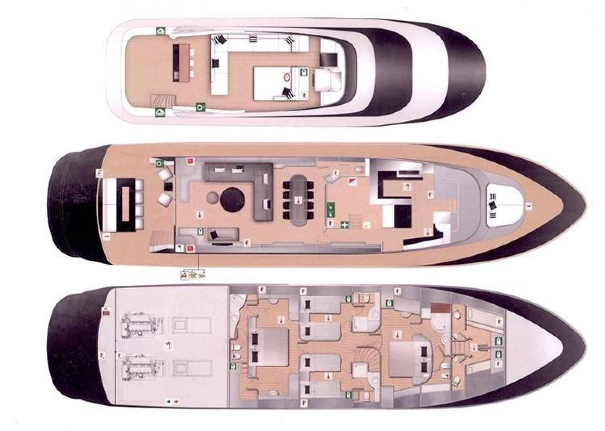 Mondomarine 85 charter yacht layout