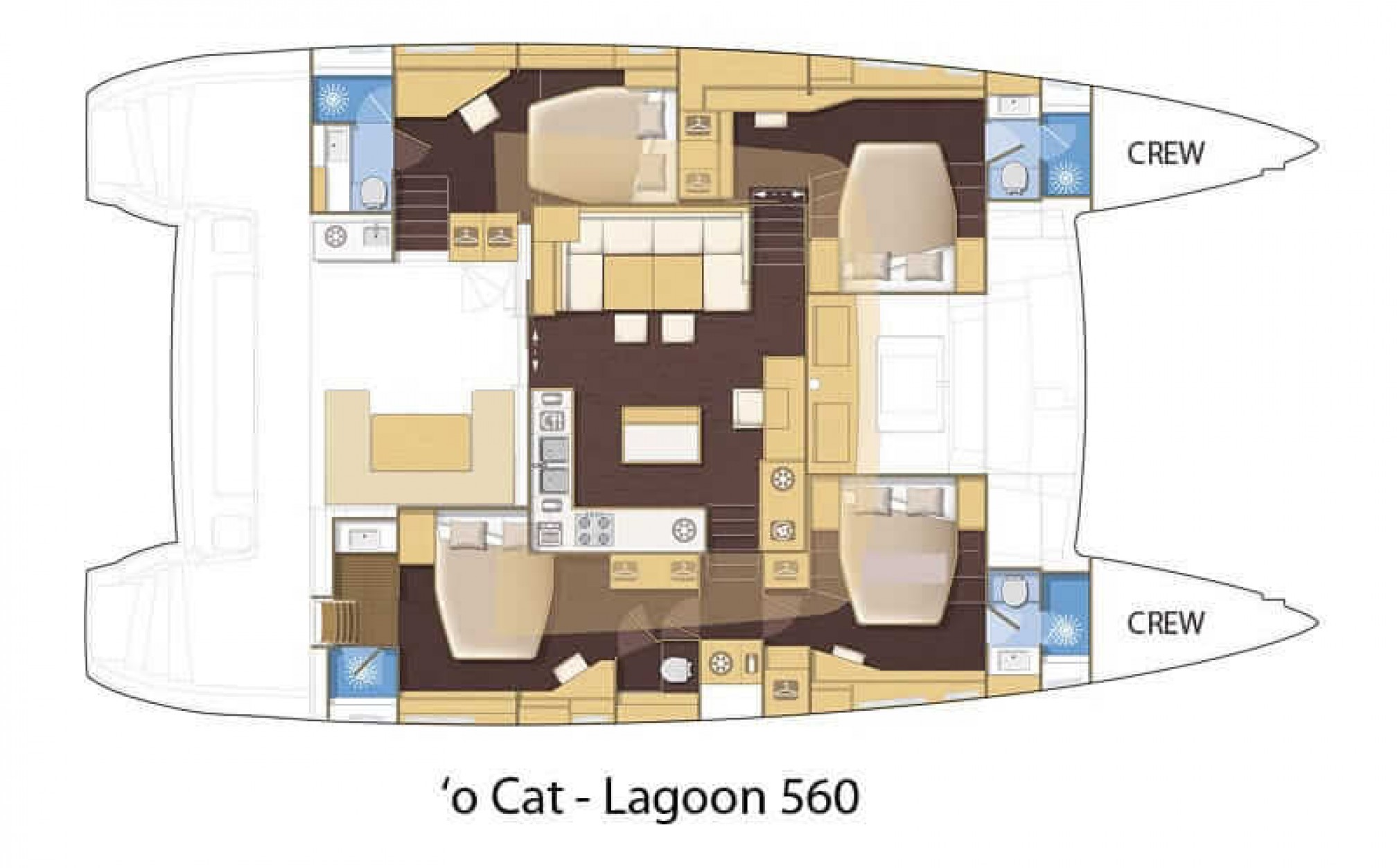 Lagoon 560 'O Cat' catamaran charter layout