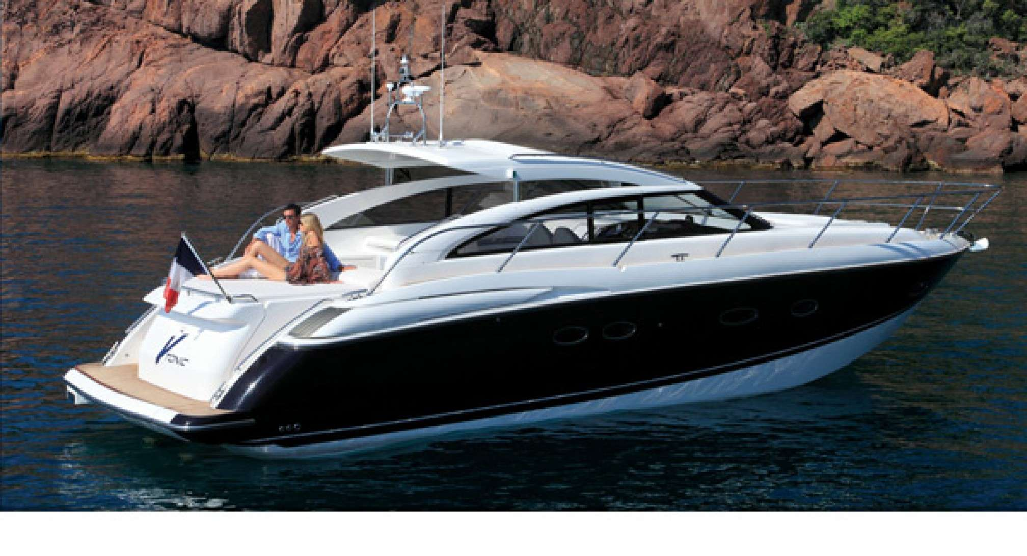 Princess V42 yacht charter anchored