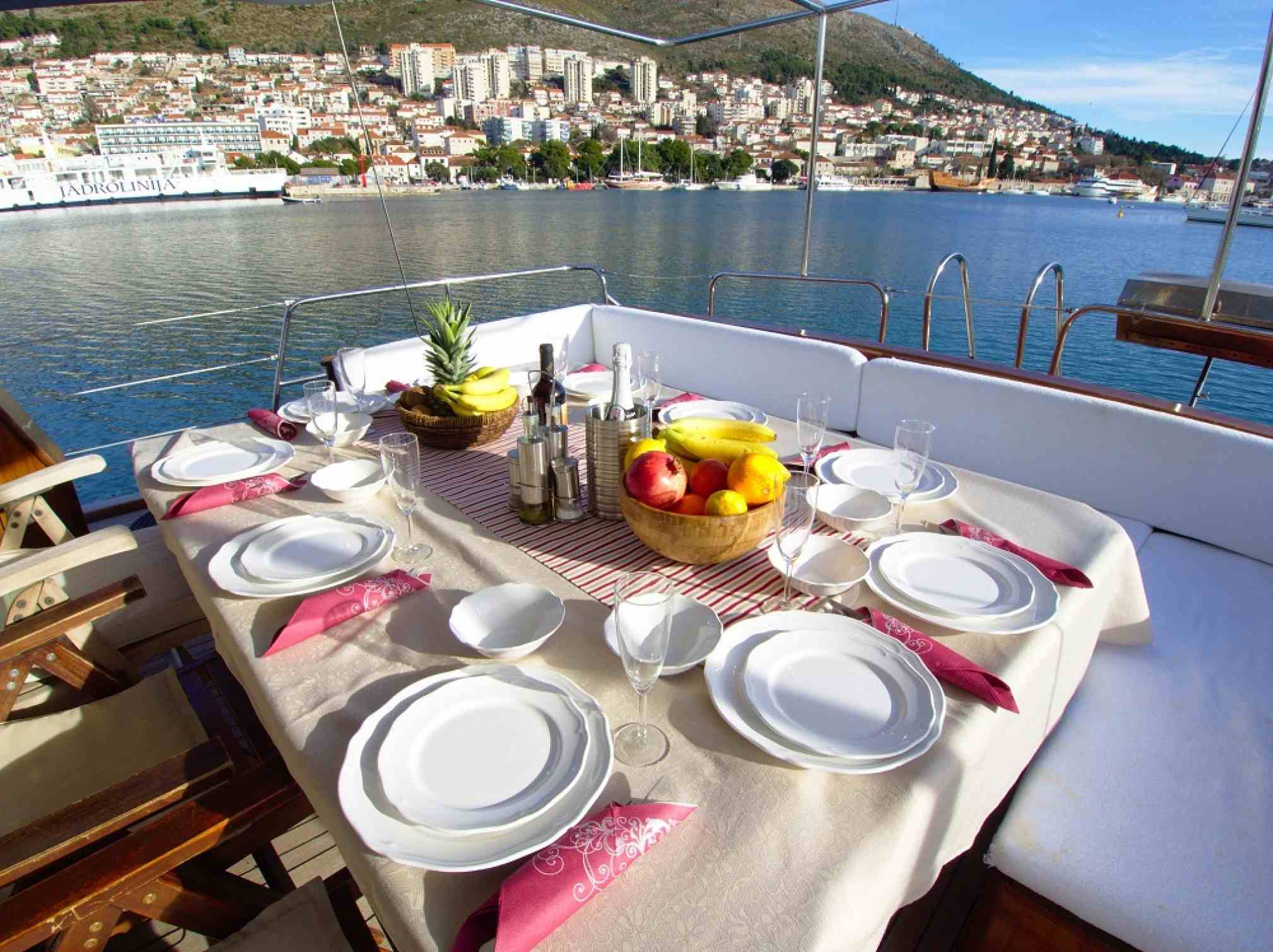 Adriatic Holiday gulet charter deck table