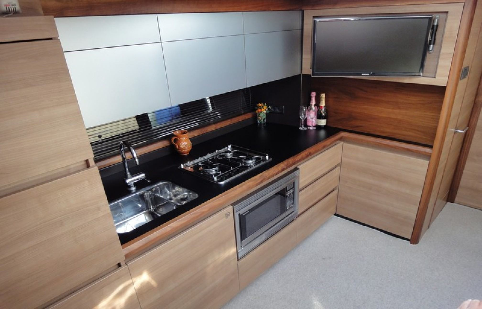 Sealine SC42 yacht charter kitchen