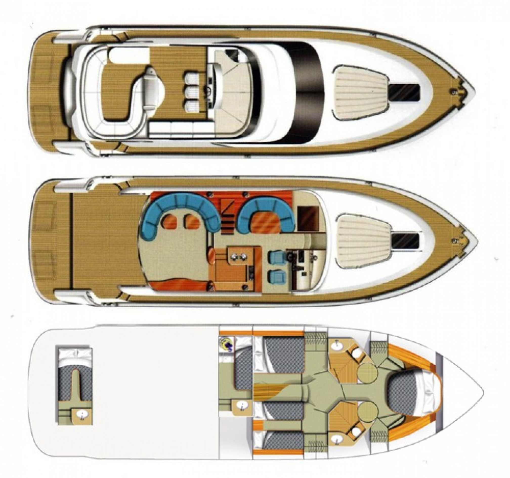 Fairline Squadron 58 yacht charter layout