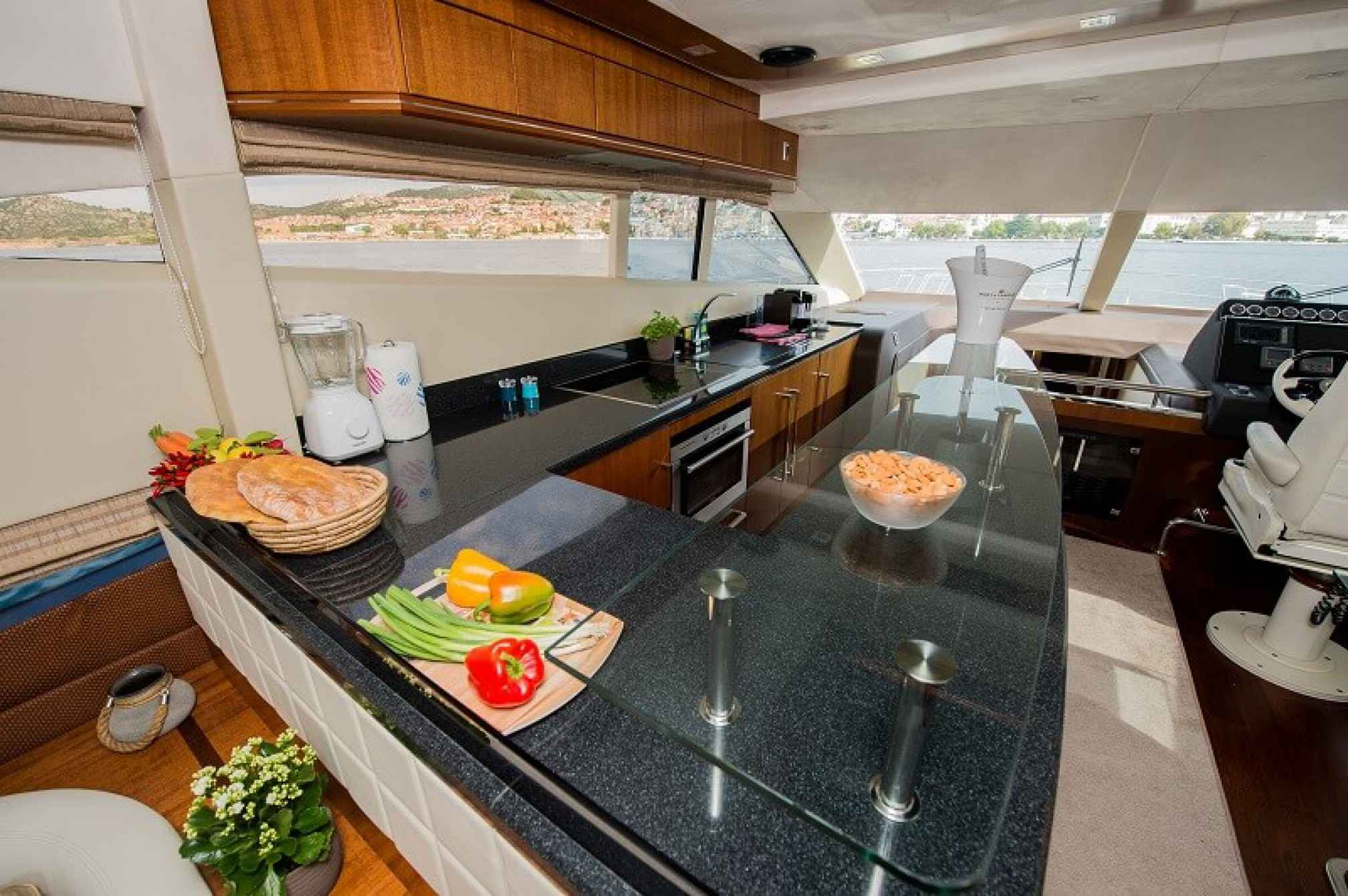 Galeon 640 Fly yacht charter galley