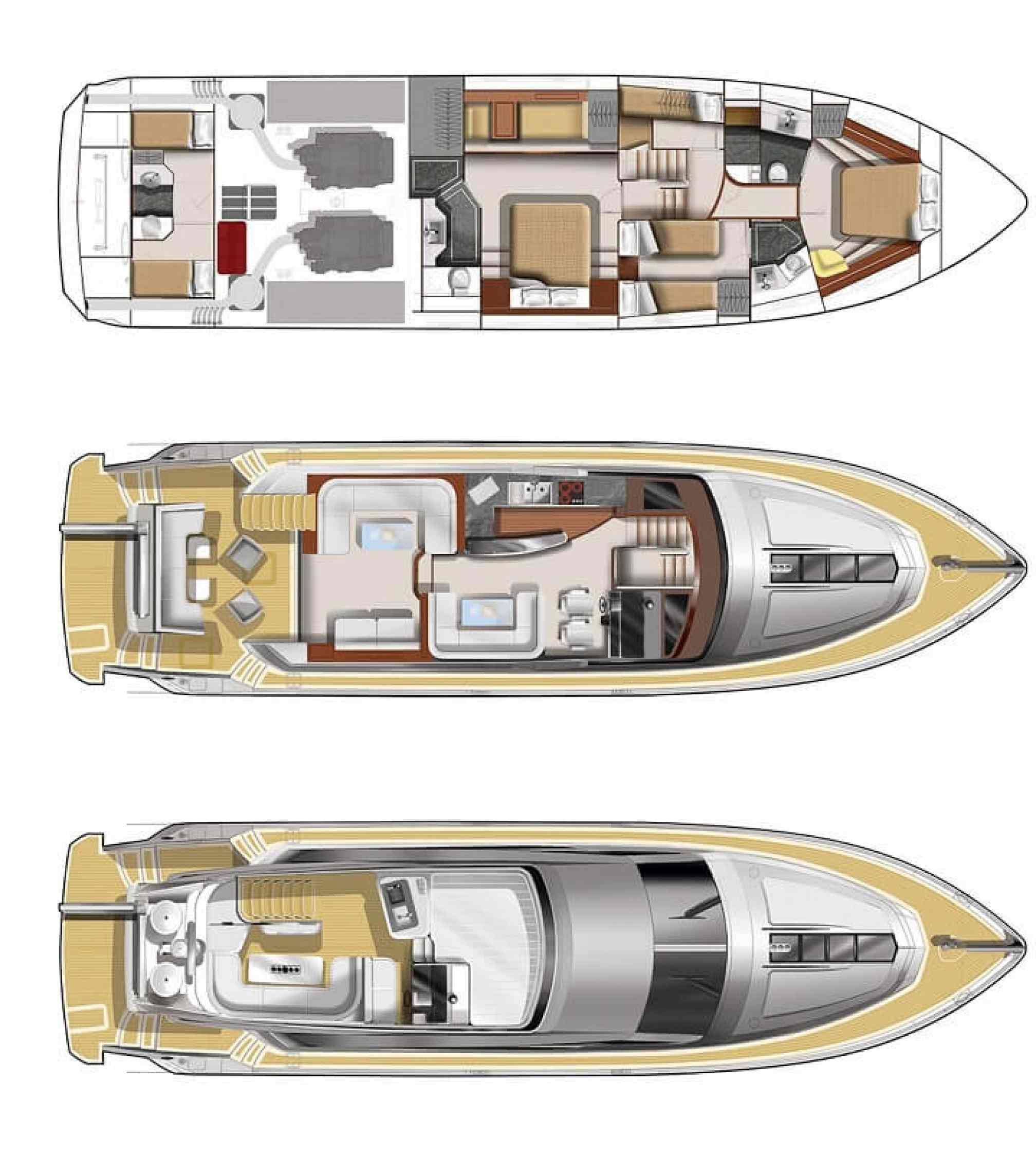 Galeon 640 Fly yacht charter layout