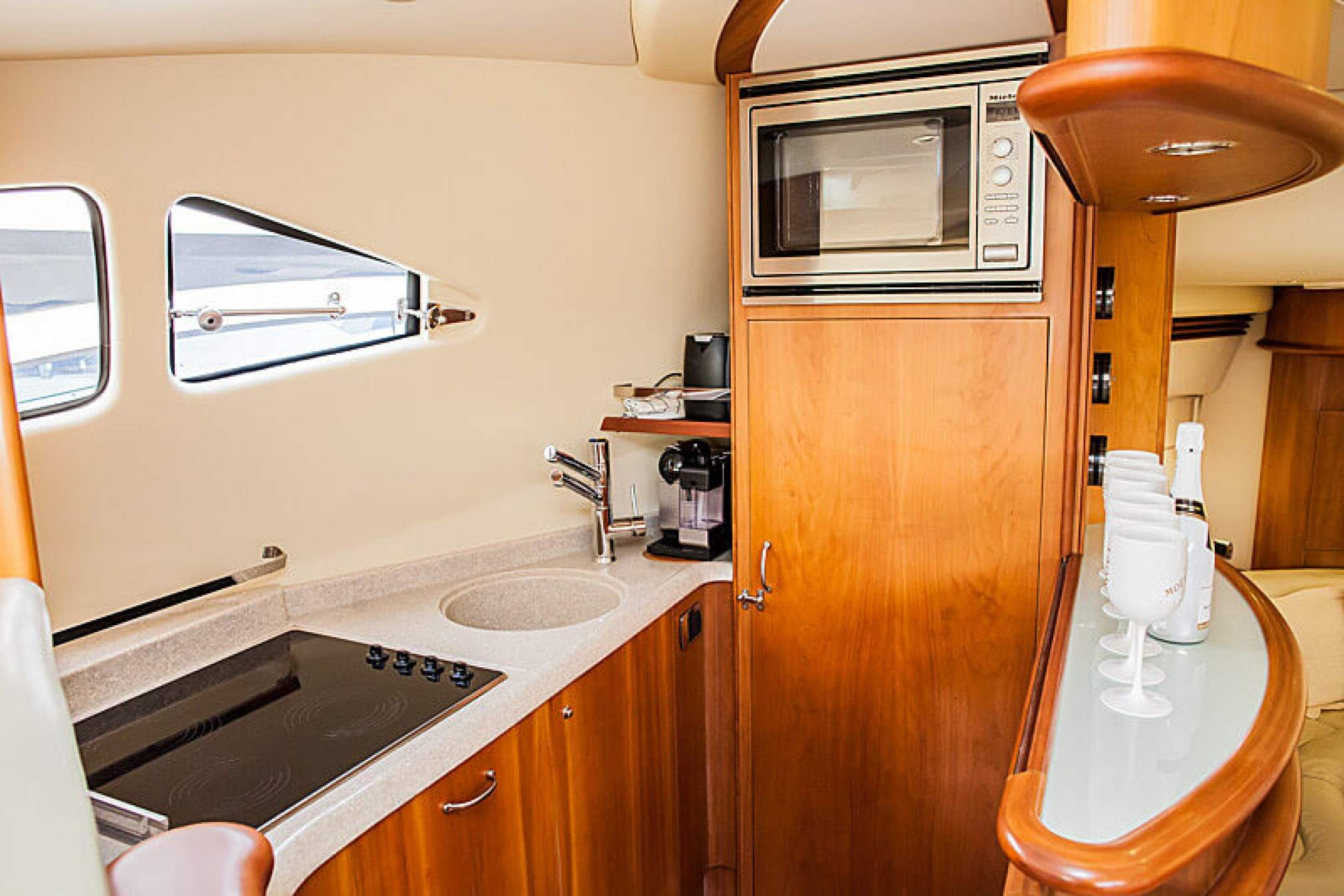 Aicon 56 Fly yacht charter galley