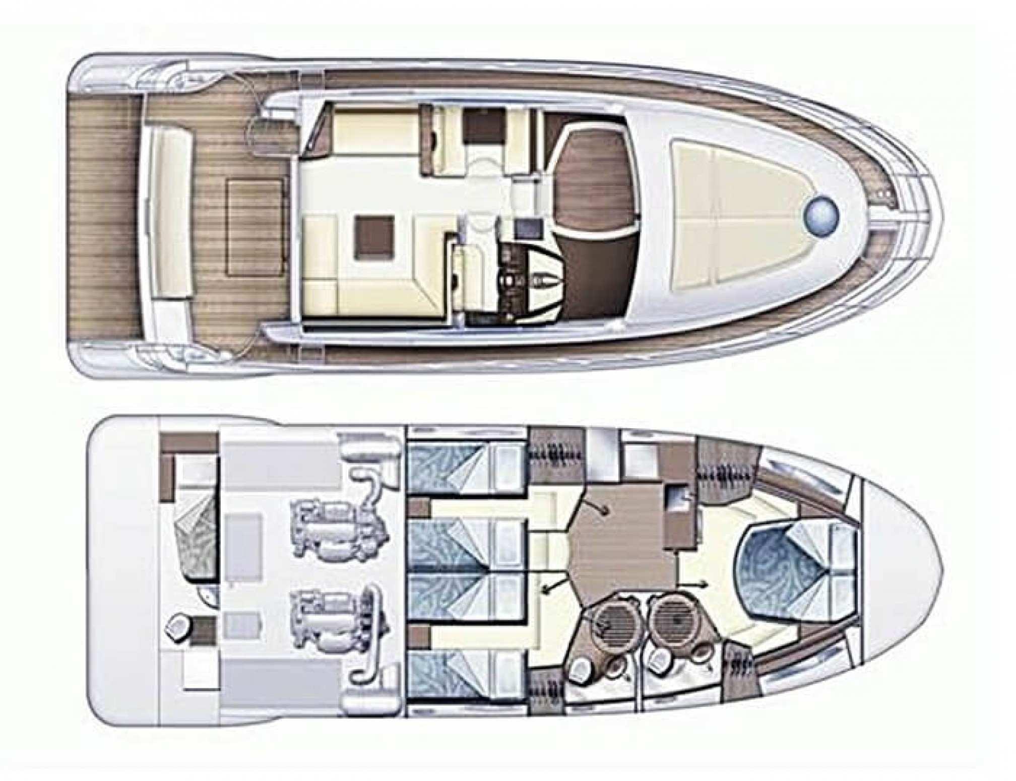 Azimut 47 Fly yacht charter layout