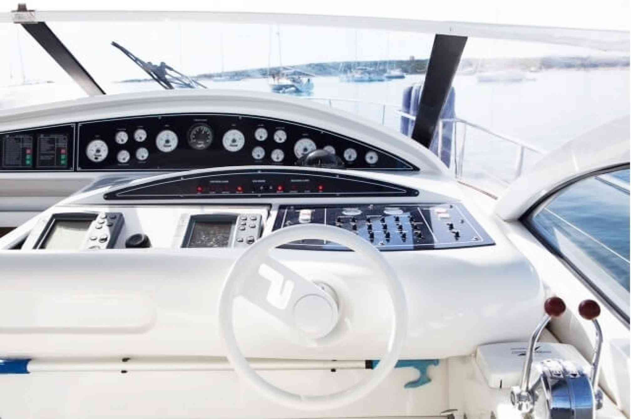 Pershing 45 motorboat charter cockpit
