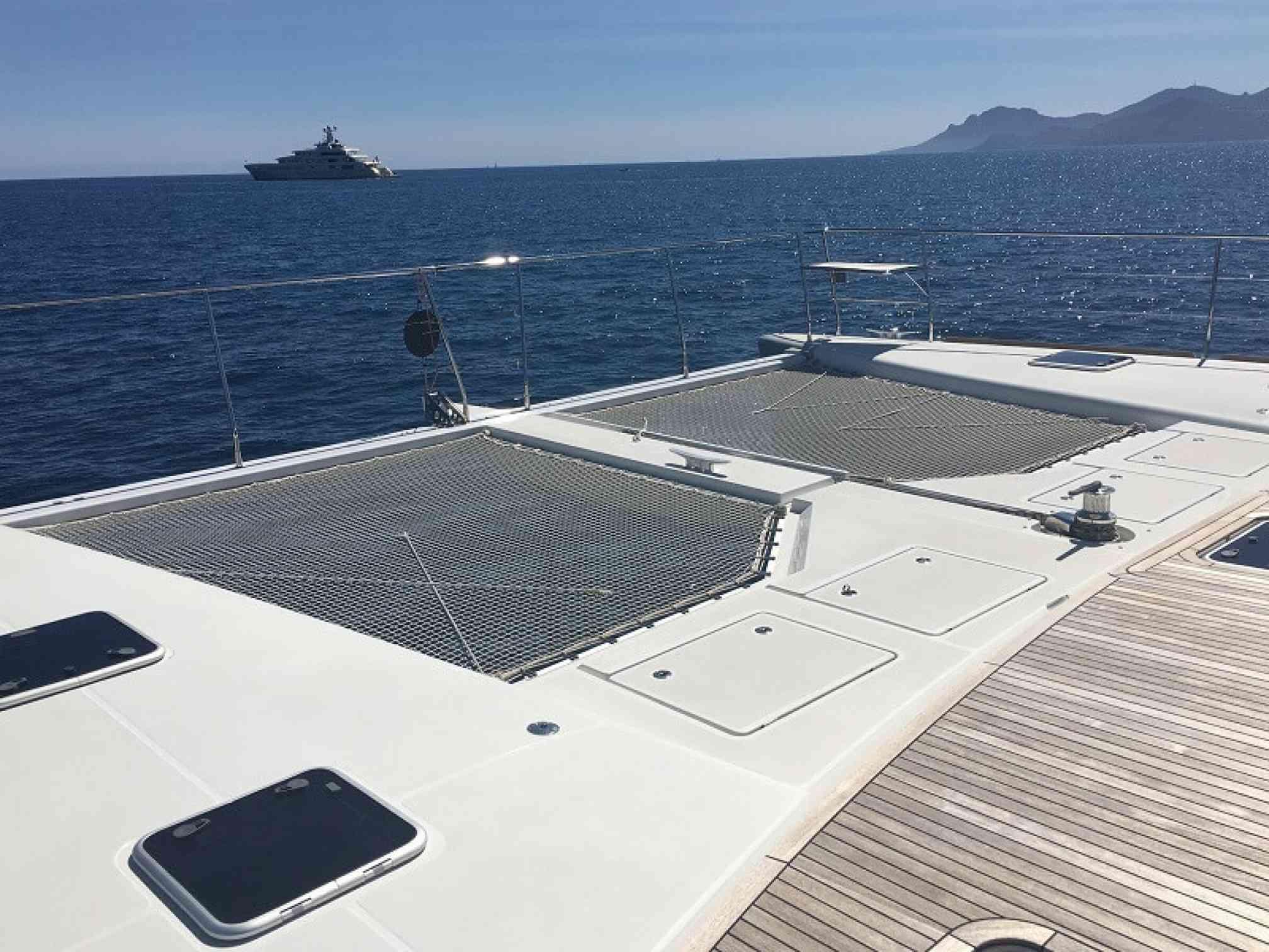 Oryx catamaran charter bow