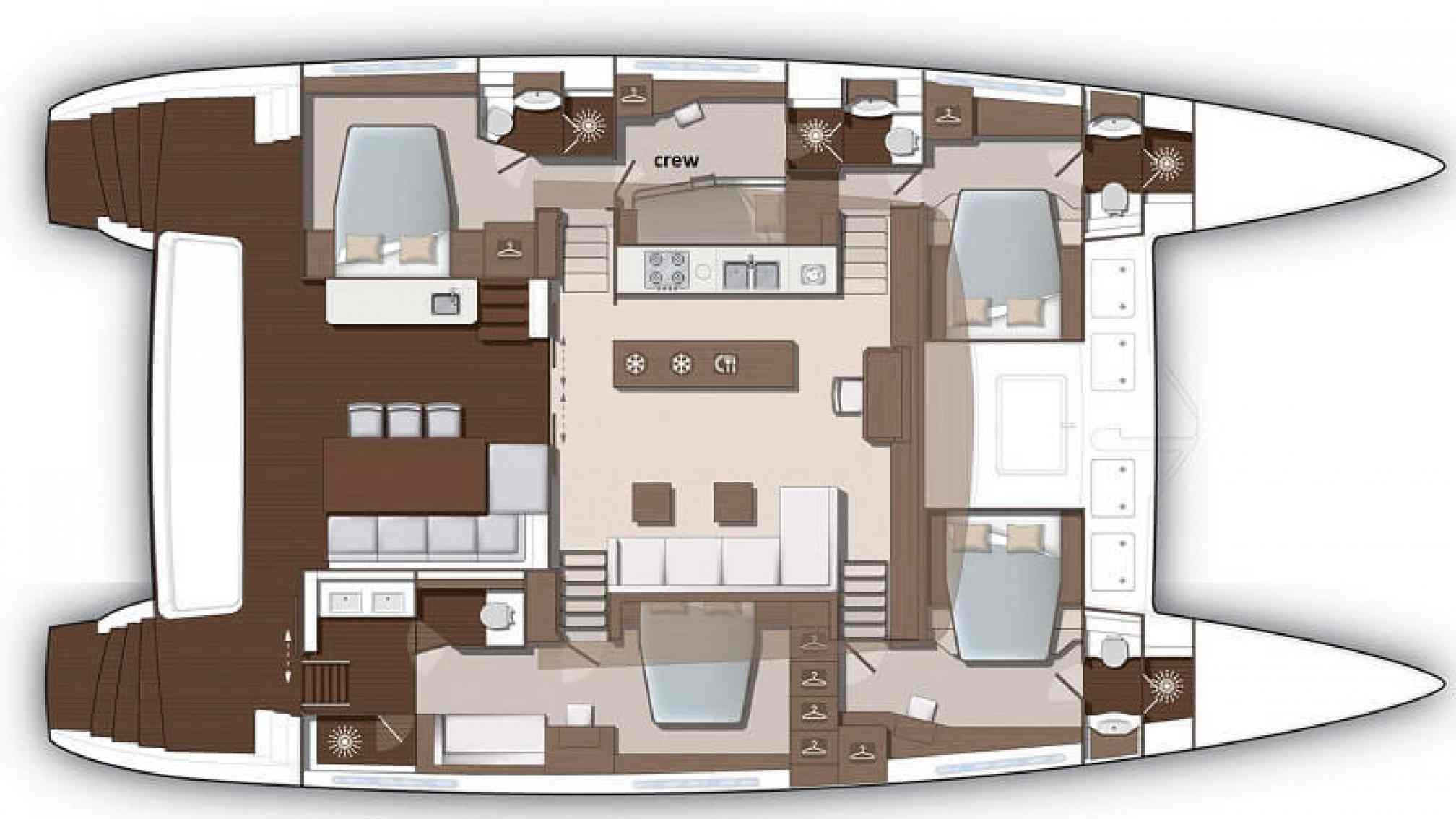 Oryx catamaran charter layout