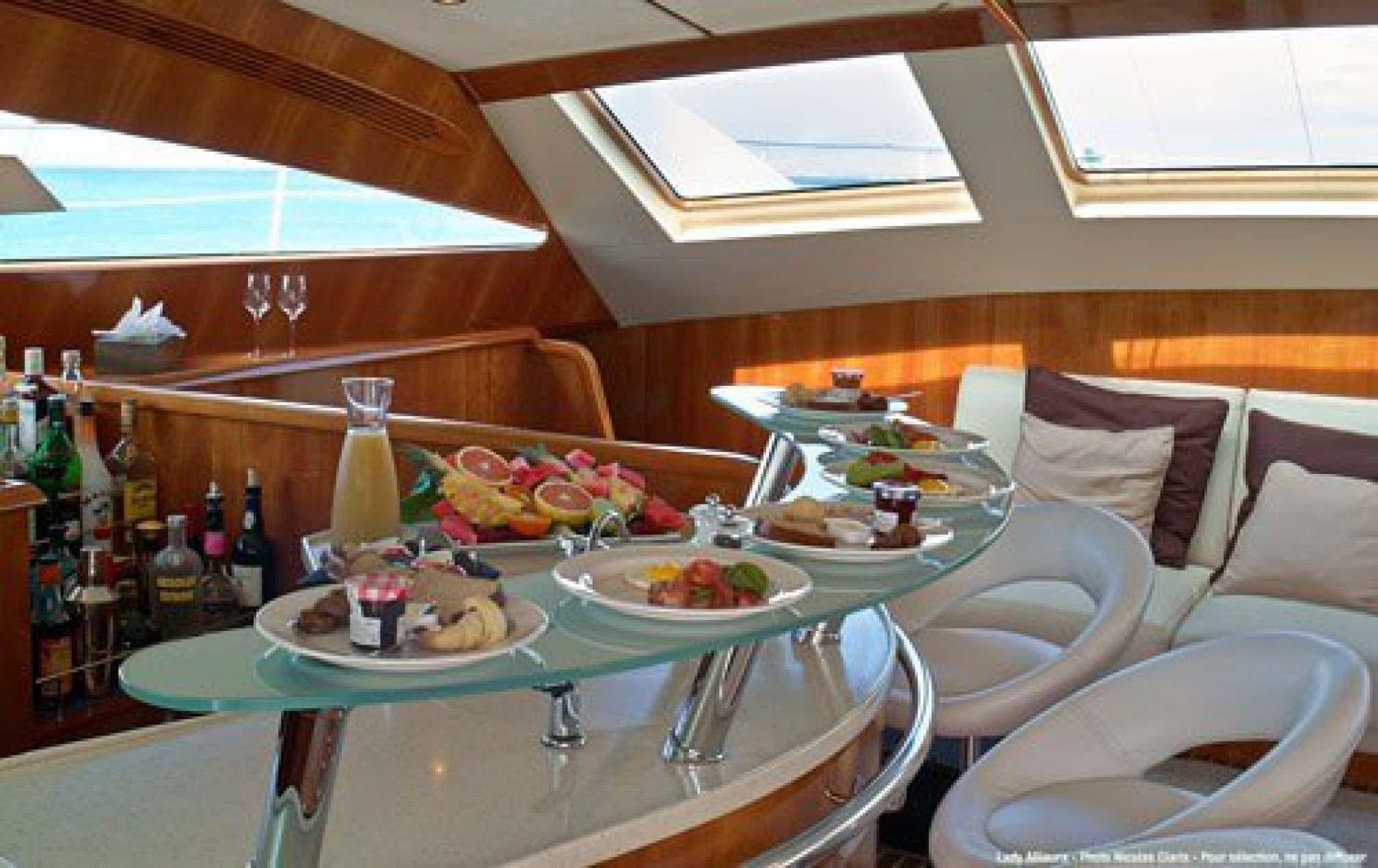 Privilege 745 'Lady Alliaura' catamaran charter salon