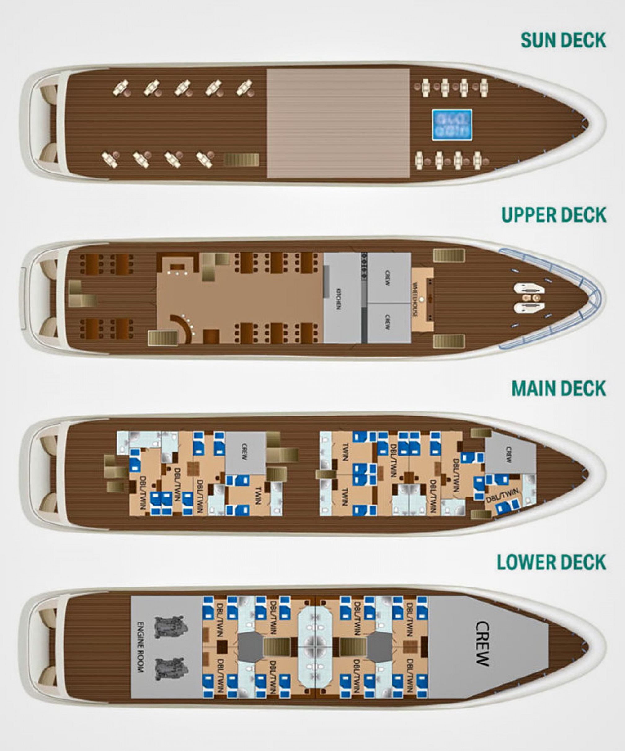 Rental yacht Aurora 36 pax layout
