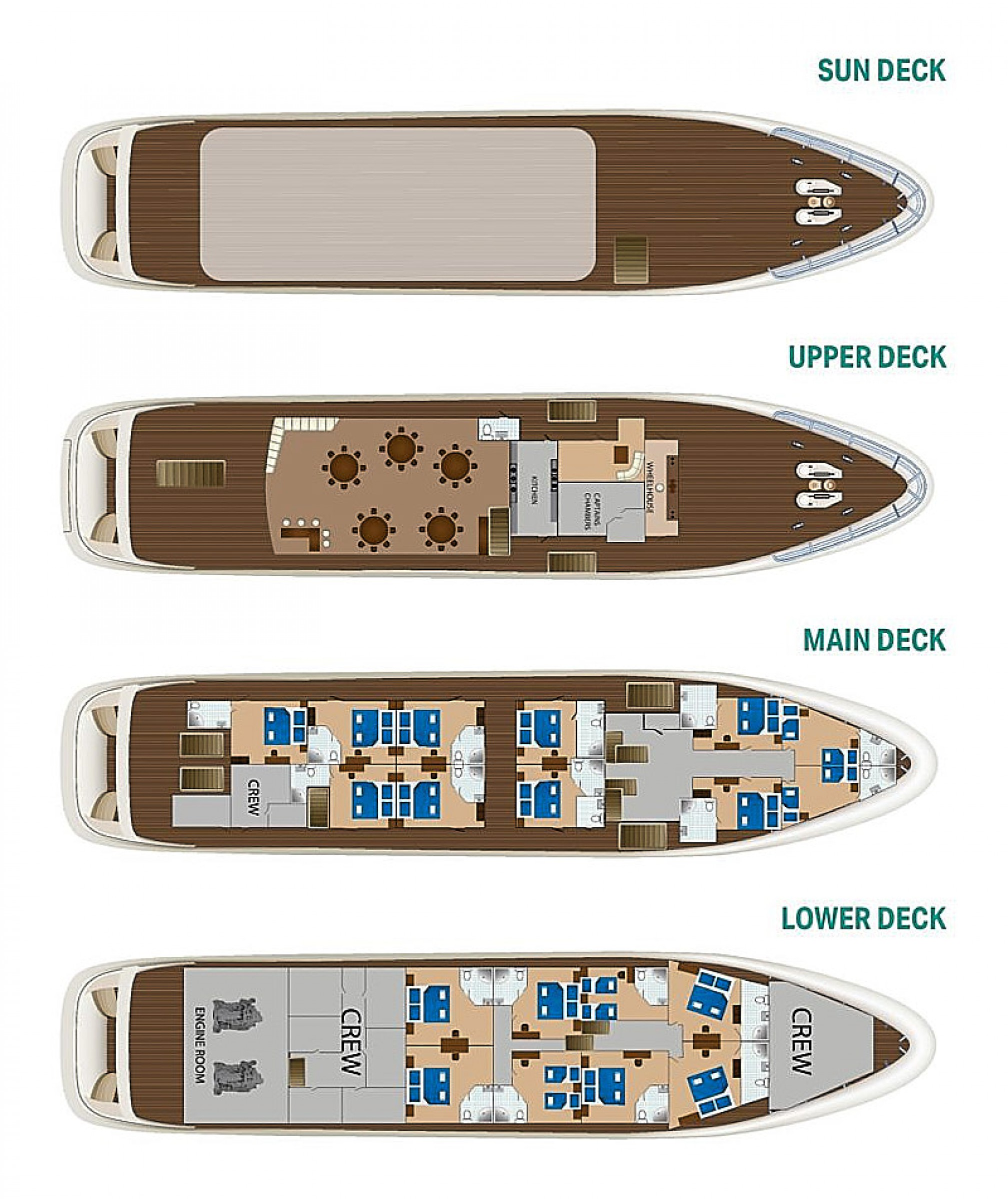 Rental yacht Cristal 38 pax layout