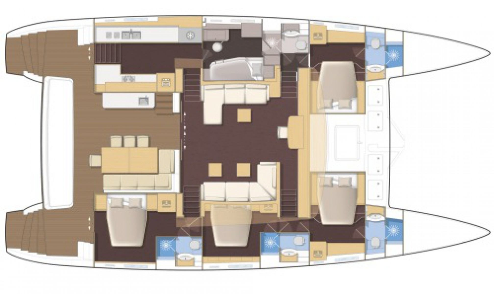 Crocodile Daddy luxury catamaran charter layout