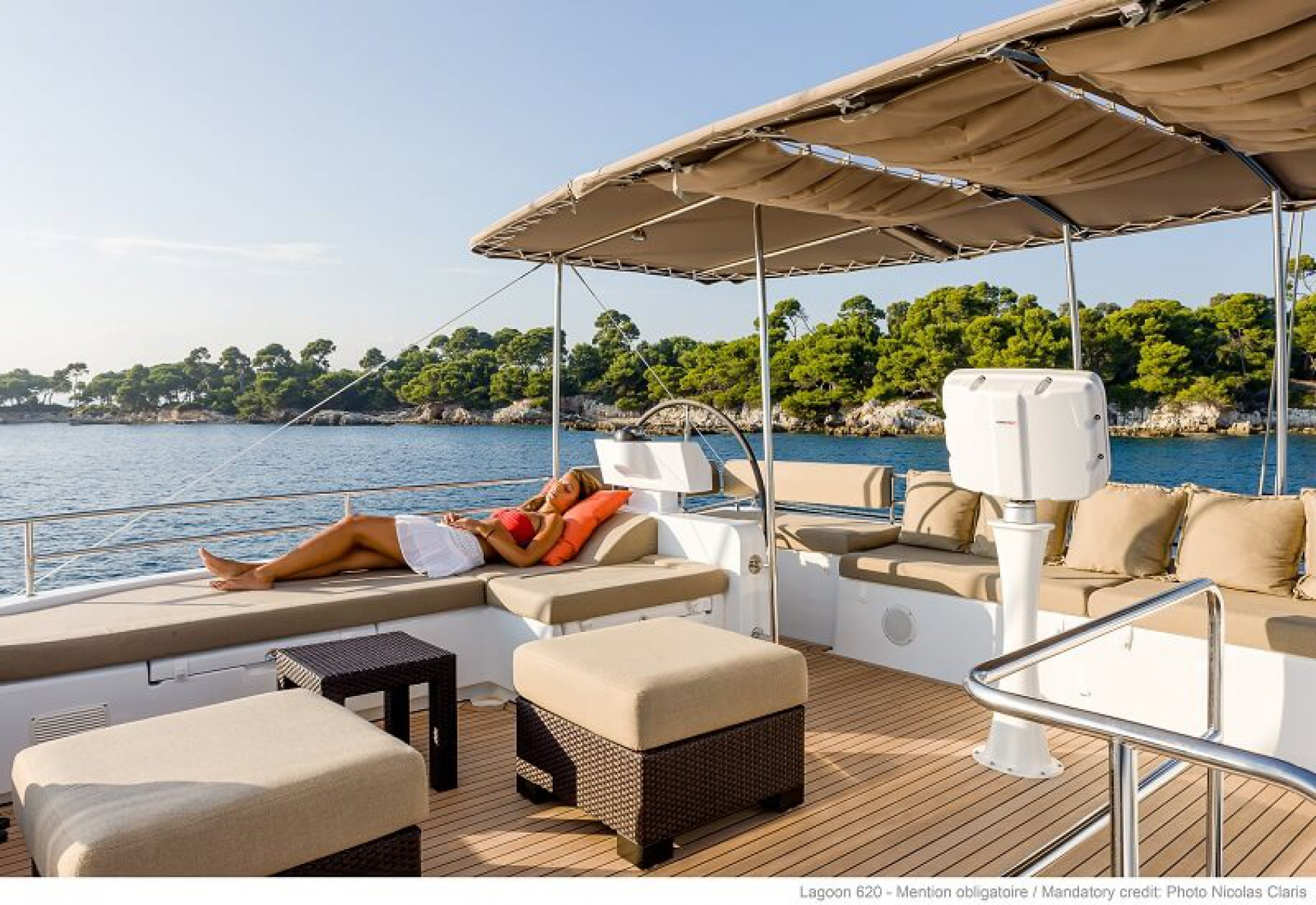 Lagoon 620 catamaran charter flybridge