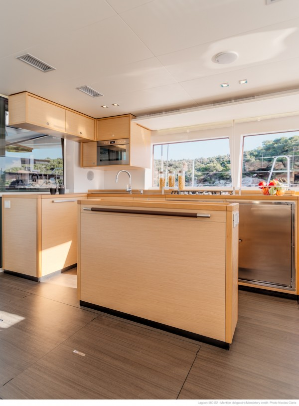 Catamaran charter in Greece kitchen