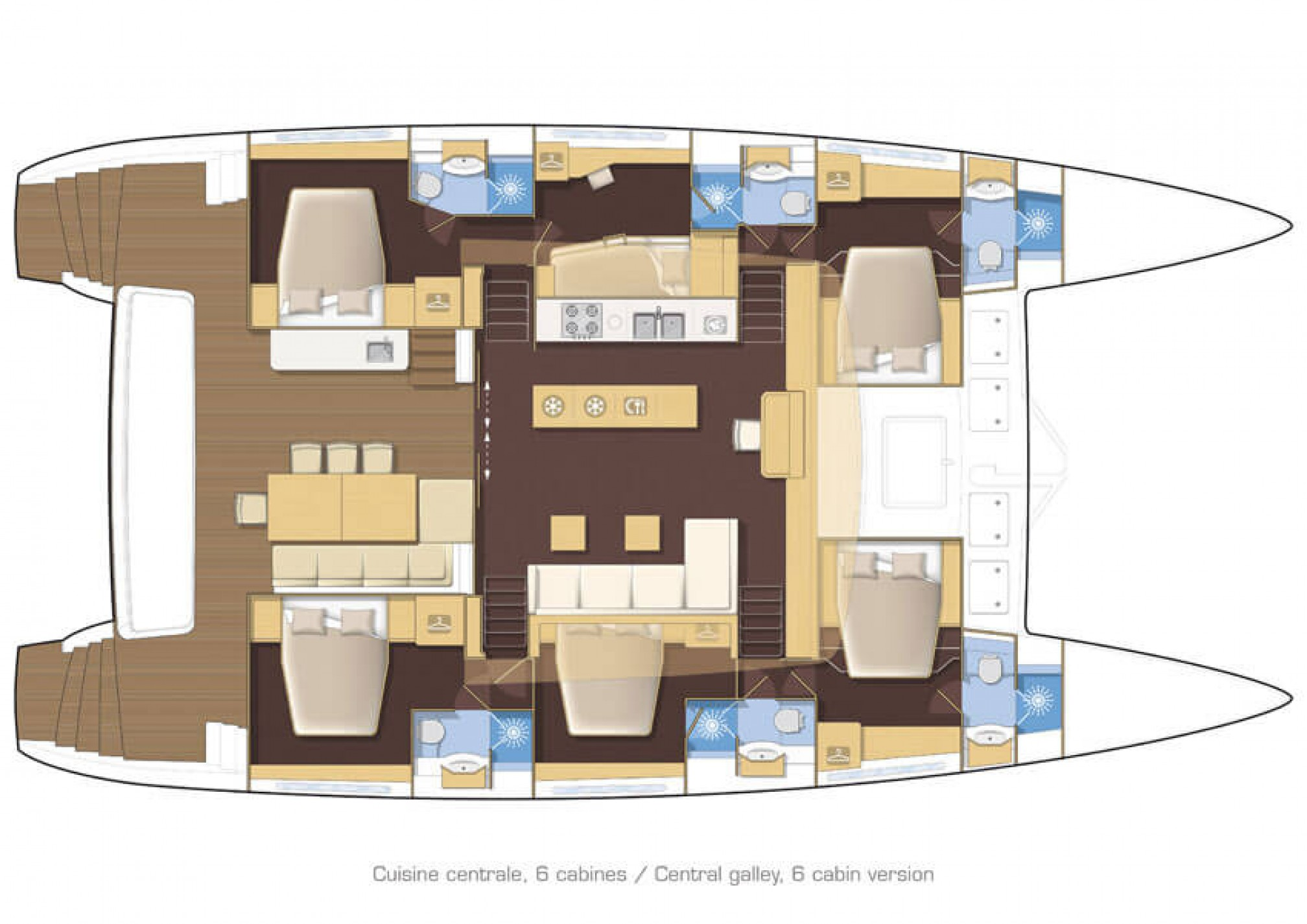 Lagoon 620 catamaran charter layout