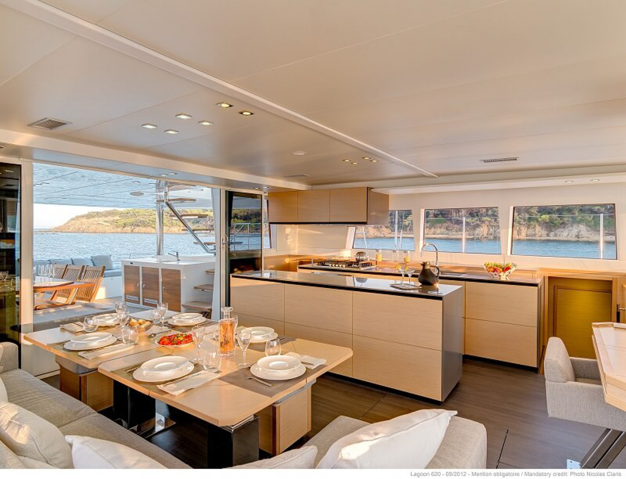 Lagoon 620 catamaran charter salon