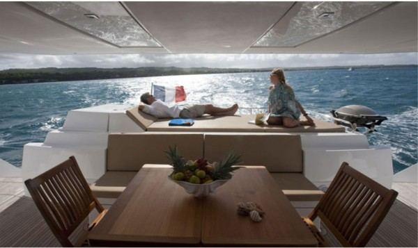 Sanya57 catamaran charter, sundeck