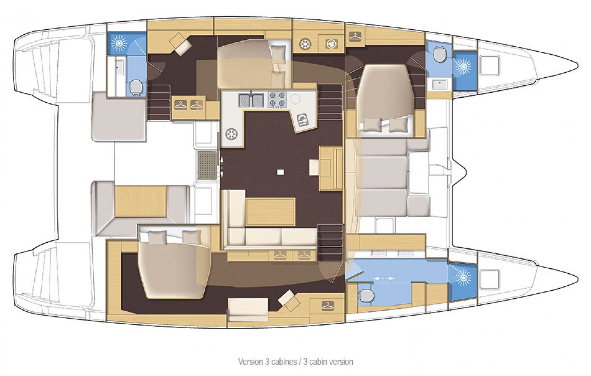 Lagoon 52F catamaran charter layout
