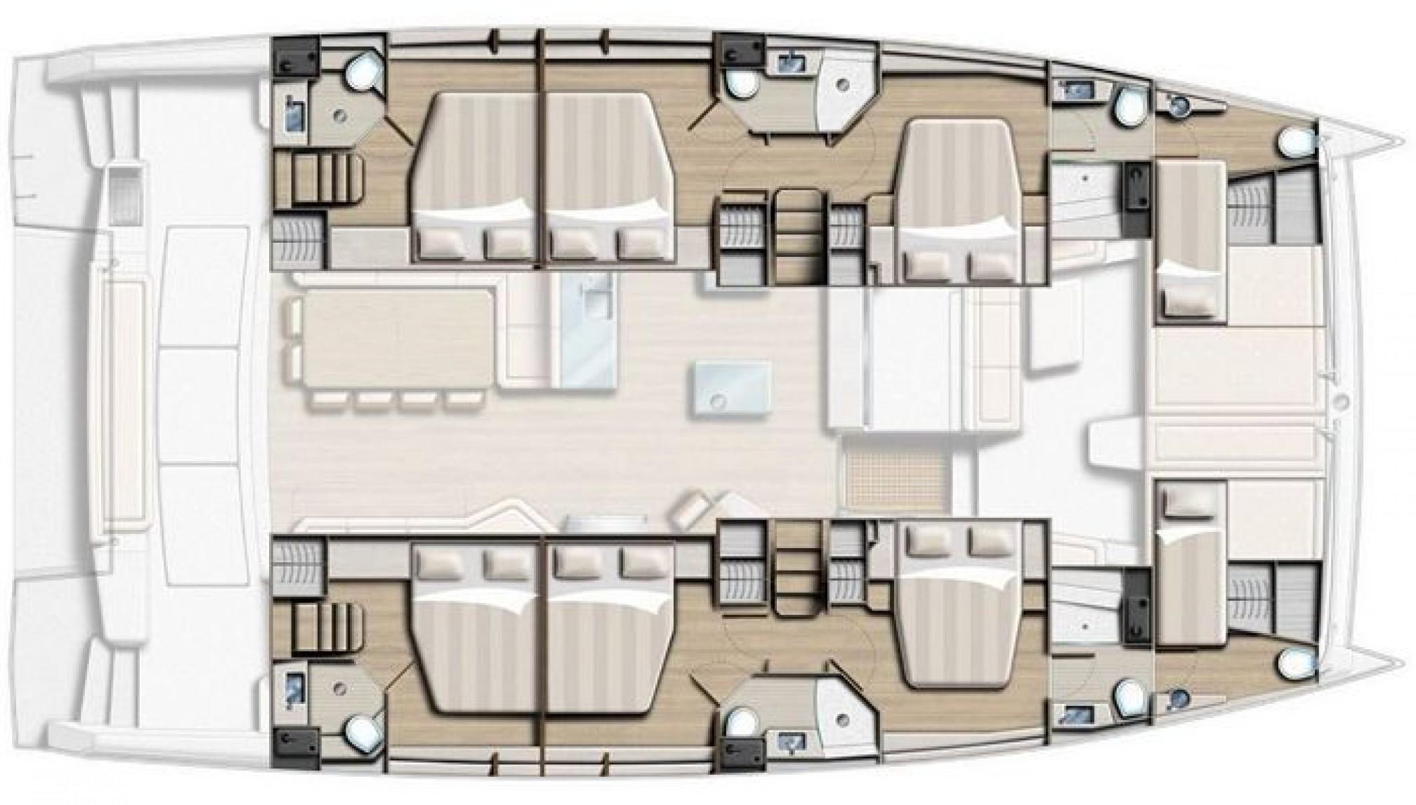 Rental catamaran Bali 5.4 (6 + 2 cab) layout
